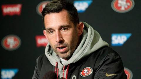 <p>               FILE- In this Sunday, Dec. 2, 2018, file photo, San Francisco 49ers head coach Kyle Shanahan talks to reporters following an NFL football game against the Seattle Seahawks in Seattle. The Seahawks won 43-16. Shanahan has started his first two seasons with the team with a 2-10 record. (AP Photo/John Froschauer, File)             </p>