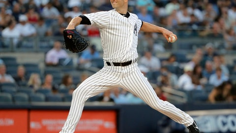 "<p>               FILE - In this Aug. 9, 2018, file photo, New York Yankees starting pitcher J.A. Happ delivers against the Texas Rangers during the second inning of a baseball game, in New York. Now that he's staying with the Yankees, J.A. Happ would like to see Manny Machado join him in the Bronx. ""You get any kind of player like that on a team, that would be exciting,"" Happ said Thursday, Dec. 20, 2018, three days after finalizing a $34 million, two-year contract. Machado, one of this offseason's top free agents along with Bryce Harper, visited the Yankees on Wednesday. (AP Photo/Julie Jacobson, File)             </p>"
