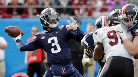 <p>               Virginia's Bryce Perkins (3) looks to pass against South Carolina during the first half of the Belk Bowl NCAA college football game in Charlotte, N.C., Saturday, Dec. 29, 2018. (AP Photo/Chuck Burton)             </p>