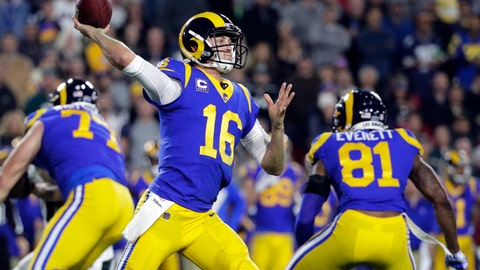 <p>               FILE - In this Sunday, Dec. 16, 2018, file photo, Los Angeles Rams quarterback Jared Goff throws a pass during an NFL football game against the Philadelphia Eagles in Los Angeles. The Rams play the Arizona Cardinals on Sunday.  (AP Photo/Jae C. Hong, File)             </p>