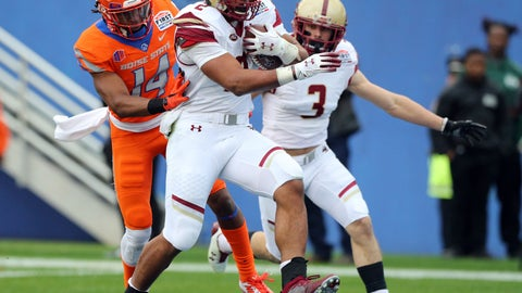 <p>               Boston College running back AJ Dillon (2) scores a touchdown ahead of Boise State cornerback Tyler Horton (14) during the first half of the First Responder Bowl NCAA football game Wednesday, Dec. 26, 2018, in Dallas. (AP Photo/Richard W. Rodriguez)             </p>