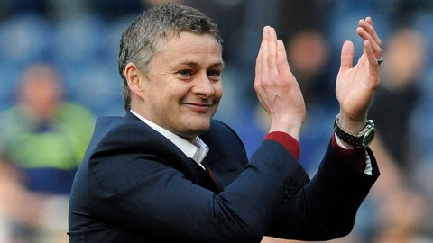 <p>               FILE - In this Saturday, March 29, 2014 file photo, Cardiff manager Ole Gunnar Solskjaer applauds fans after the English Premier League soccer match between West Bromwich Albion and Cardiff City at Hawthorns Stadium in West Bromwich, England. Manchester United announced Wednesday Dec. 19, 2018, they have hired Ole Gunnar Solskjaer as its manager until the end of the season, bringing the Norwegian back to the club 20 seasons after he scored its winning goal in the Champions League final. (AP Photo/Rui Vieira, File)             </p>