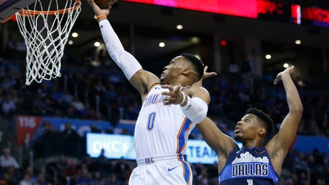 <p>               Oklahoma City Thunder guard Russell Westbrook (0) shoots in front of Dallas Mavericks guard Dennis Smith Jr. (1) in the second half of an NBA basketball game in Oklahoma City, Monday, Dec. 31, 2018. (AP Photo/Sue Ogrocki)             </p>