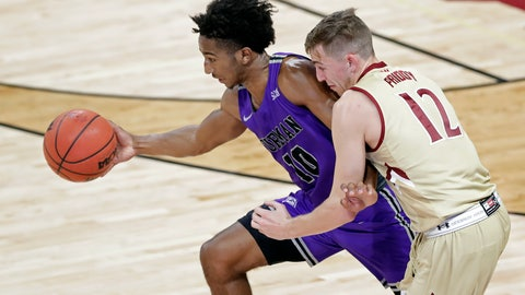 <p>               Furman's Alex Hunter (10) steals the ball from Elon's Nathan Priddy (12) in the second half of an NCAA college basketball game in Elon, N.C., Tuesday, Dec. 4, 2018. (AP Photo/Chuck Burton)             </p>