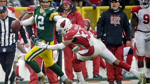 <p>               Green Bay Packers quarterback Aaron Rodgers (12) rushes towards the sideline during the last seconds of the second half of an NFL football game against the Arizona Cardinals, Sunday, Dec. 2, 2018, in Green Bay, Wis. (AP Photo/Mike Roemer)             </p>