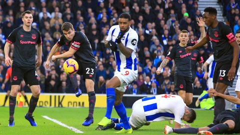 <p>               Everton's Seamus Coleman, second left, clears the ball during the game against Brighton & Hove Albion, during their English Premier League soccer match at the AMEX Stadium in Brighton, England, Saturday Dec. 29, 2018. (Mark Kerton/PA via AP)             </p>