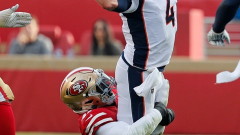 <p>               Denver Broncos quarterback Case Keenum throws the ball as San Francisco 49ers outside linebacker Elijah Lee makes a tackle during the first half of an NFL football game Sunday, Dec. 9, 2018, in Santa Clara, Calif. (AP Photo/Josie Lepe)             </p>