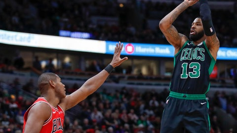 <p>               Boston Celtics forward Marcus Morris, right, shoots over Chicago Bulls forward Cristiano Felicio during the second half of an NBA basketball game Saturday, Dec. 8, 2018, in Chicago. (AP Photo/Kamil Krzaczynski             </p>