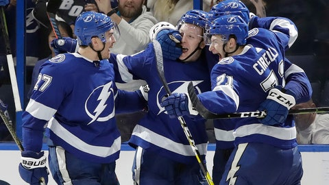 <p>               Tampa Bay Lightning left wing Adam Erne, second from left, celebrates his goal against the Montreal Canadiens with defenseman Ryan McDonagh, left, and center Anthony Cirelli, right, during the third period of an NHL hockey game Saturday, Dec. 29, 2018, in Tampa, Fla. (AP Photo/Chris O'Meara)             </p>