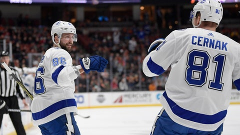 <p>               Tampa Bay Lightning right wing Nikita Kucherov, left, celebrates his goal with defenseman Erik Cernak during the first period of an NHL hockey game against the Anaheim Ducks, Monday, Dec. 31, 2018, in Anaheim, Calif. (AP Photo/Mark J. Terrill)             </p>