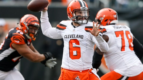 <p>               FILE - In this Nov. 25, 2018, file photo, Cleveland Browns quarterback Baker Mayfield passes in the first half of an NFL football game against the Cincinnati Bengals, in Cincinnati. Mayfield had his way with the Bengals defense last month, throwing for four touchdowns in a 35-20 win. Cincinnati's defense has been a bit better heading into the rematch in Cleveland. (AP Photo/Frank Victores, File)             </p>