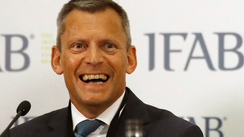 <p>               FILE - In this file photo dated  Friday, March 3, 2017, English Football Association , FA, CEO Martin Glenn during a press conference after the 131st International Football Association Board (IFAB) annual general meeting at Wembley stadium in London.  The FA announced Thursday Dec. 13, 2018, chief executive Martin Glenn will leave his job after four-years at the end of the season, in May 2019. (AP Photo/Frank Augstein, FILE)             </p>