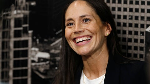 <p>               Sue Bird jokes with reporters as she talks about her new role as basketball operations assistant for the Denver Nuggets before an NBA basketball game Sunday, Dec. 16, 2018, in Denver. (AP Photo/David Zalubowski)             </p>