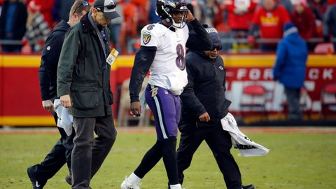 <p>               Baltimore Ravens quarterback Lamar Jackson (8) is helped off the field after an injury in overtime of an NFL football game against the Kansas City Chiefs in Kansas City, Mo., Sunday, Dec. 9, 2018. (AP Photo/Charlie Riedel)             </p>