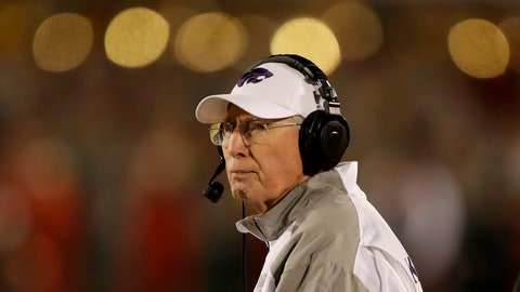 <p>               Kansas State head coach Bill Snyder watches from the sideline during the second half of an NCAA college football game against Iowa State, Saturday, Nov. 24, 2018, in Ames, Iowa. Iowa State won 42-38. (AP Photo/Charlie Neibergall)             </p>