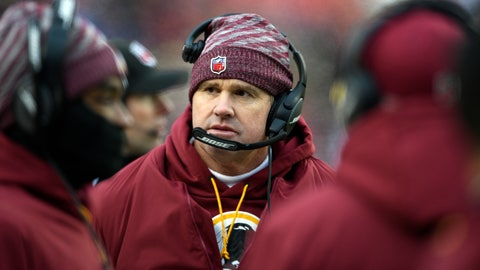 <p>               Washington Redskins head coach Jay Gruden walks on the sideline during the second half of an NFL football game against the New York Giants, Sunday, Dec. 9, 2018, in Landover, Md. (AP Photo/Nick Wass)             </p>