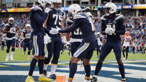 <p>               Los Angeles Chargers wide receiver Keenan Allen, center, celebrates his touchdown catch with teammates during the first half of an NFL football game against the Cincinnati Bengals Sunday, Dec. 9, 2018, in Carson, Calif. (AP Photo/Jae C. Hong )             </p>