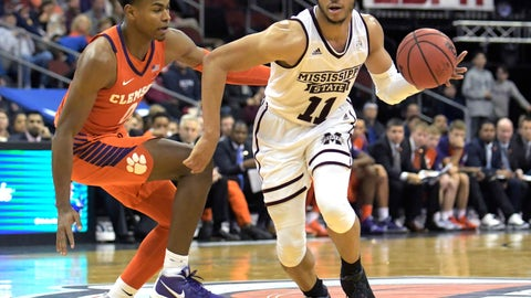 <p>               Mississippi State guard Quinndary Weatherspoon (11) drives to the basket as he is guarded by Clemson guard Clyde Trapp (0) during the second half of an NCAA college basketball game in the Never Forget Tribute Classic Saturday, Dec. 8, 2018, in Newark, N.J. Mississippi State won 82-71. (AP Photo/Bill Kostroun)             </p>