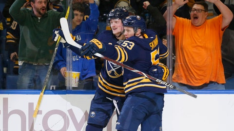<p>               Buffalo Sabres forwards Jack Eichel (9) and Jeff Skinner (53) celebrate a goal during the first period of an NHL hockey game against the Arizona Coyotes, Thursday, Dec. 13, 2018, in Buffalo N.Y. (AP Photo/Jeffrey T. Barnes)             </p>