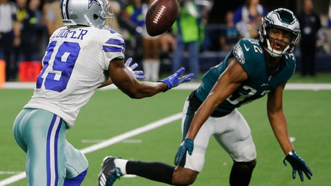 <p>               Dallas Cowboys wide receiver Amari Cooper (19) makes a 15-yard catch in front of Philadelphia Eagles cornerback Rasul Douglas (32) for a touchdown in overtime of an NFL football game, in Arlington, Texas, Sunday, Dec. 9, 2018. (AP Photo/Michael Ainsworth)             </p>
