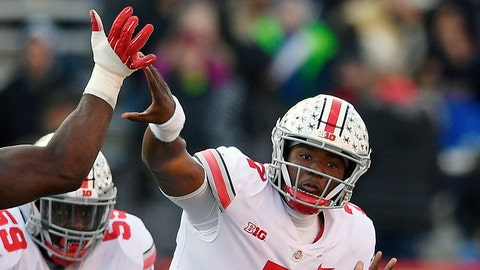 <p>               FILE - In this Saturday, Nov. 17, 2018, file photo, Ohio State quarterback Dwayne Haskins Jr. (7) passes under pressure from a Maryland defender during the second half of an NCAA football game in College Park, Md. Haskins was named offensive player of the year when The Associated Press All-Big Ten Conference team was released Wednesday, Dec. 5, 2018. (AP Photo/Nick Wass, File)             </p>