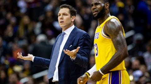 <p>               Los Angeles Lakers forward LeBron James (23) and head coach Luke Walton dispute a call during the first half of an NBA basketball game against the Washington Wizards, Sunday, Dec. 16, 2018, in Washington. (AP Photo/Al Drago)             </p>