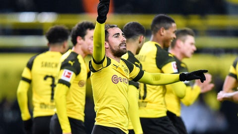 <p>               FILE - In this Dec. 15, 2018 file photo Dortmund's Paco Alcacer celebrates after scoring the opening goal during the German Bundesliga soccer match between Borussia Dortmund and Werder Bremen in Dortmund, Germany. Borussia Dortmund fans are dreaming of a first Bundesliga title since 2012 and former coach Juergen Klopp has joined in his praise of the side after its stellar start to the season. (AP Photo/Martin Meissner, file)             </p>