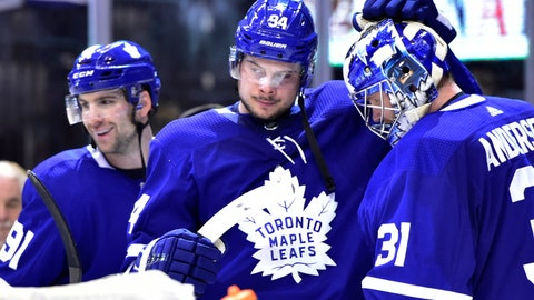 <p>               Toronto Maple Leafs goaltender Frederik Andersen (31) celebrates with John Tavares (91) and Auston Matthews (34) after the Maple Leafs defeated the New York Rangers in an NHL hockey game Saturday, Dec. 22, 2018, in Toronto. (Frank Gunn/The Canadian Press via AP)             </p>