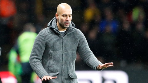 <p>               Manchester City's coach Pep Guardiola gestures during the English Premier League soccer match between Watford and Manchester City at Vicarage Road stadium in Watford, England, Tuesday, Dec. 4, 2018. (AP Photo/Frank Augstein)             </p>