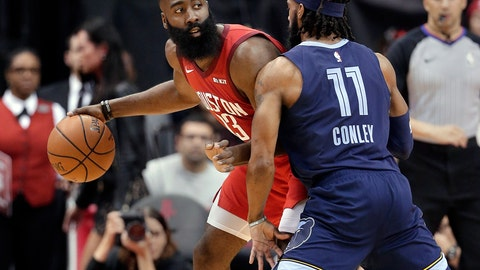 <p>               Houston Rockets guard James Harden (13) looks to pass the ball under pressure from Memphis Grizzlies guard Mike Conley (11) during the first half of an NBA basketball game Monday, Dec. 31, 2018, in Houston. (AP Photo/Michael Wyke)             </p>