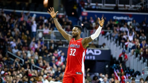 <p>               Washington Wizards forward Jeff Green (32) celebrates during the second half of an NBA basketball game against the Charlotte Hornets, Saturday, Dec. 29, 2018, in Washington. (AP Photo/Al Drago)             </p>