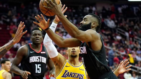 <p>               Houston Rockets' James Harden, right, goes up for a shot as Los Angeles Lakers' Josh Hart (3) defends during the second half of an NBA basketball game Thursday, Dec. 13, 2018, in Houston. The Rockets won 126-111. (AP Photo/David J. Phillip)             </p>