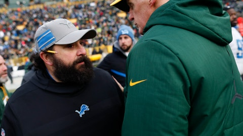 <p>               Detroit Lions head coach Matt Patricia talks to Green Bay Packers head coach Joe Philbin after an NFL football game Sunday, Dec. 30, 2018, in Green Bay, Wis. The Lions won 31-0. (AP Photo/Matt Ludtke)             </p>