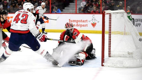 <p>               Washington Capitals right wing Tom Wilson (43) watches his goal go into the net against Ottawa Senators goaltender Marcus Hogberg (35) during the first period of an NHL hockey game, Saturday, Dec. 29, 2018 in Ottawa, Ontario. (Justin Tang/The Canadian Press via AP)             </p>