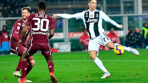 <p>               Juventus's Cristiano Ronaldo controls the ball during the Italian Serie A soccer match against Torino FC at the Olimpico stadium in Turin, Italy, Saturday, Dec. 15, 2018 (Alessandro Di Marco/ANSA via AP)             </p>