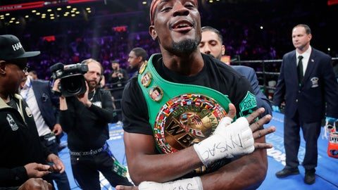 <p>               Tony Harrison celebrates after defeating Jermell Charlo in a WBC super welterweight championship boxing match Saturday, Dec. 22, 2018, in New York. (AP Photo/Frank Franklin II)             </p>