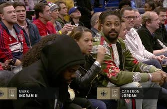 Mark Ingram and Cameron Jordan in the Building for Pelicans Game