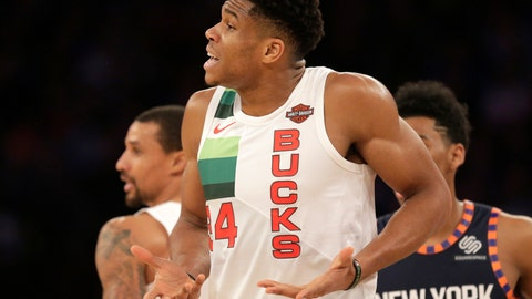 <p>               Milwaukee Bucks' Giannis Antetokounmpo reacts to a call during the first half of the NBA basketball game against the New York Knicks, Tuesday, Dec. 25, 2018, in New York. (AP Photo/Seth Wenig)             </p>