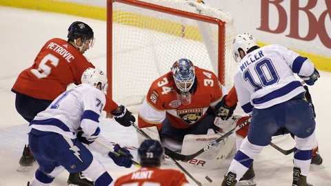 <p>               Florida Panthers goaltender James Reimer (34) defends the goal against the Tampa Bay Lightning during the first period of an NHL hockey game on Saturday, Dec. 1, 2018, in Sunrise, Fla. (AP Photo/Terry Renna)             </p>
