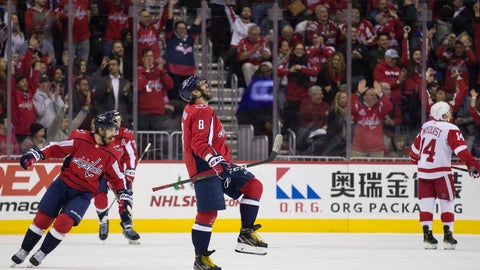 <p>               Washington Capitals left wing Alex Ovechkin (8), from Russia, celebrates his goal with defenseman Michal Kempny, from the Czech Republic, at left, in the first period of an NHL hockey game against the Detroit Red Wings, , Tuesday, Dec. 11, 2018, in Washington. (AP Photo/Alex Brandon)             </p>
