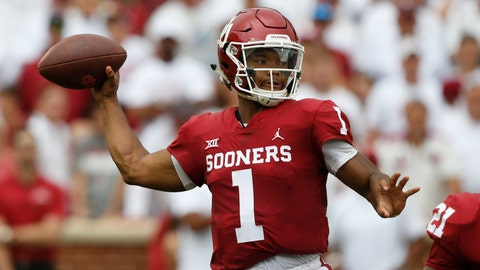<p>               FILE - In this Saturday, Sept. 8, 2018, file photo, Oklahoma quarterback Kyler Murray (1) throws during an NCAA college football game against UCLA, in Norman, Okla. Murray was named a Heisman Trophy finalist on Monday, Dec. 3, 2018. (AP Photo/Sue Ogrocki, File)             </p>