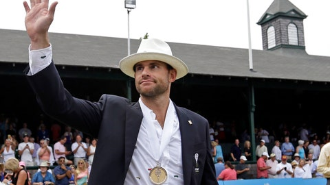 <p>               FILE - In this July 22, 2017, file photo, Tennis Hall of Fame inductee Andy Roddick walks around center court to acknowledge fans during enshrinement ceremonies at the International Tennis Hall of Fame, in Newport, R.I.  Roddick is trying to get his shoulder ready, hoping he can still bring the high heat on serve. The past U.S. Open champion will be back in town and wants to have his game with him. (AP Photo/Elise Amendola, File)             </p>