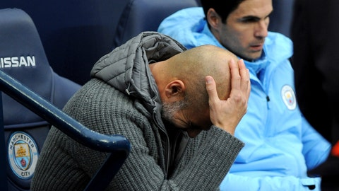 <p>               Manchester City manager Josep Guardiola reacts prior the English Premier League soccer match between Manchester City and Bournemouth at Etihad stadium in Manchester, England, Saturday, Dec. 1, 2018. (AP Photo/Rui Vieira)             </p>