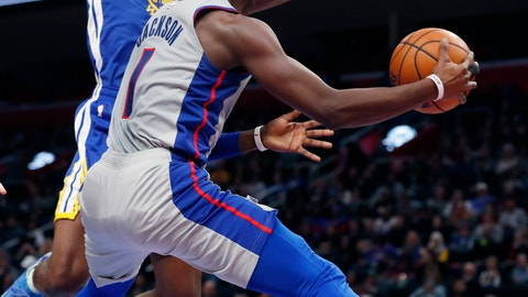 <p>               Detroit Pistons guard Reggie Jackson (1) pass ass Golden State Warriors center Damian Jones (15) defends during the first half of an NBA basketball game, Saturday, Dec. 1, 2018, in Detroit. (AP Photo/Carlos Osorio)             </p>