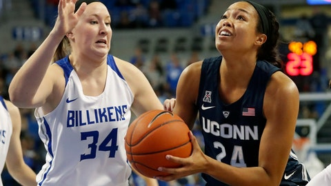 <p>               Connecticut's Napheesa Collier (24) heads to the basket as Saint Louis' Kendra Wilken (34) defends during the first half of an NCAA college basketball game Tuesday, Dec. 4, 2018, in St. Louis. (AP Photo/Jeff Roberson)             </p>