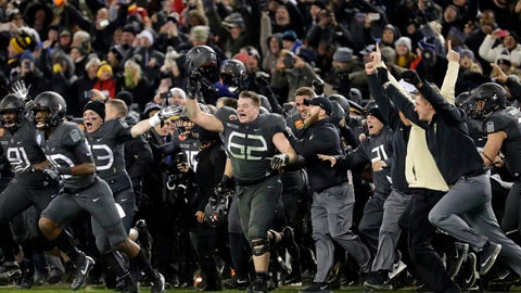<p>               FILE - In this Dec. 10, 2016, file photo, Army players and coaches run onto the field after defeating Navy 21-17 in an NCAA college football game in Baltimore, Md. With Army ranked No. 22, the Cadets (9-2) try to beat Navy (3-9) for the third straight time Saturday, Dec. 8, 2018, in the storied series. (AP Photo/Patrick Semansky, File)             </p>