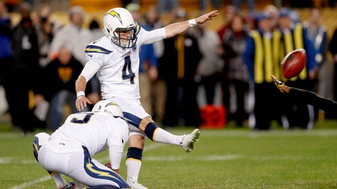 <p>               Los Angeles Chargers kicker Mike Badgley (4) hits a field goal from the hold by Donnie Jones to defeat the Pittsburgh Steelers 33-30 with no time left in an NFL football game, Sunday, Dec. 2, 2018, in Pittsburgh. (AP Photo/Don Wright)             </p>