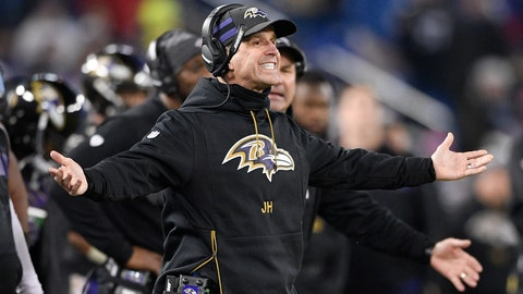 <p>               Baltimore Ravens head coach John Harbaugh reacts to an official's call in the second half of an NFL football game against the Cleveland Browns, Sunday, Dec. 30, 2018, in Baltimore. (AP Photo/Nick Wass)             </p>