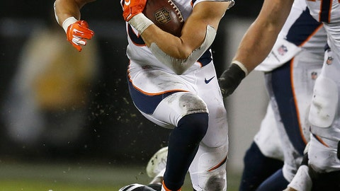 <p>               Denver Broncos running back Phillip Lindsay runs against the Oakland Raiders during the first half of an NFL football game in Oakland, Calif., Monday, Dec. 24, 2018. (AP Photo/D. Ross Cameron)             </p>
