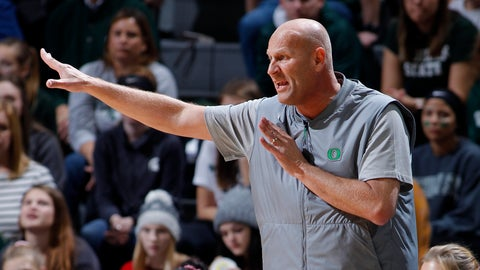 <p>               Oregon coach Kelly Graves gives instructions during the first half of an NCAA college basketball game against Michigan State, Sunday, Dec. 9, 2018, in East Lansing, Mich. (AP Photo/Al Goldis)             </p>